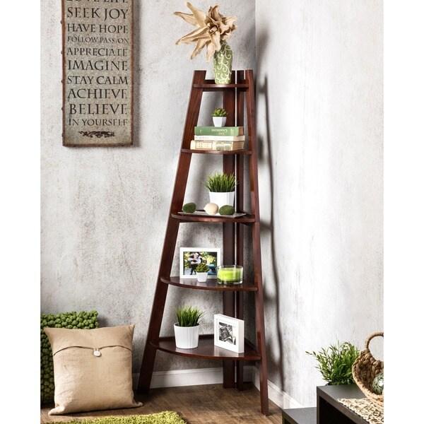 White Contemporary Storage Ladder Shape Corner Bookcase ... |Corner Ladder Bookshelf