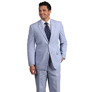Adolfo Men S Blue And White Pinfeather 2 Button Suit