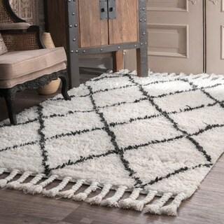 Nuloom Handmade Moroccan Trellis Wool Shag Rug 14949703