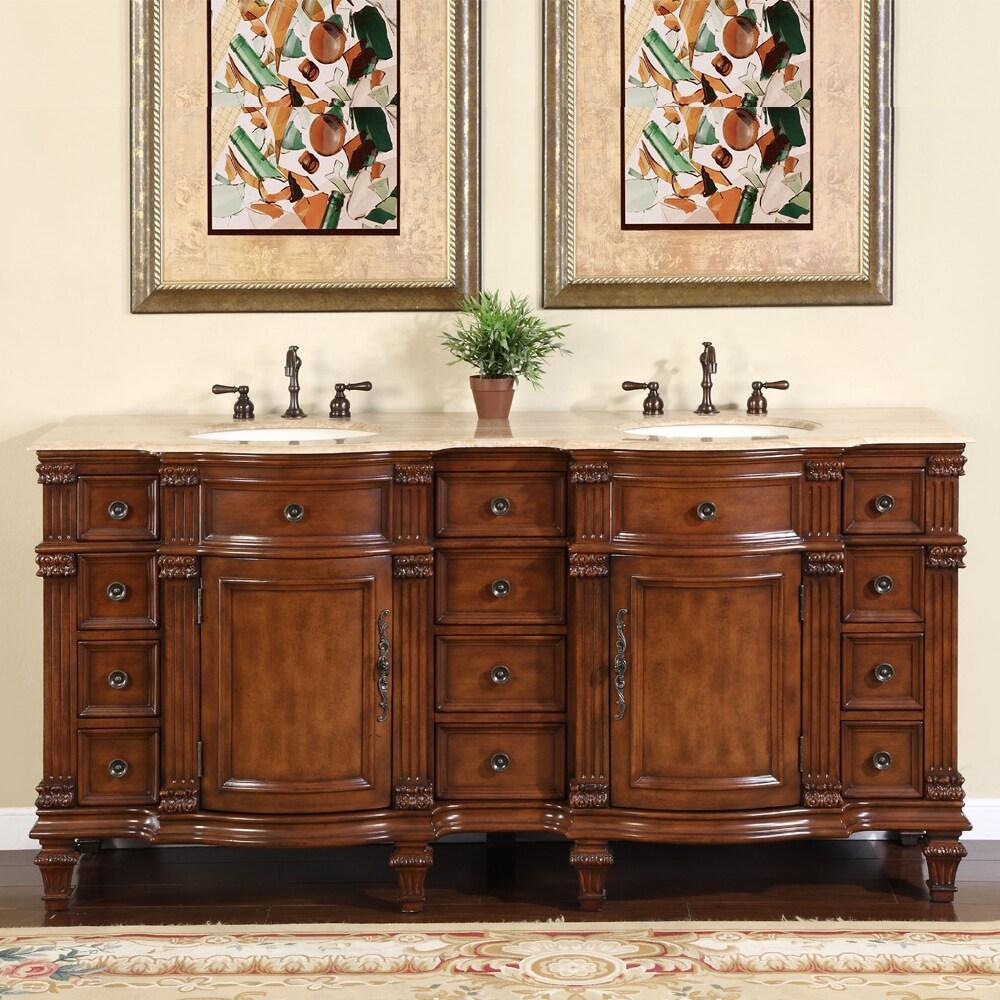 90 Inch Double Sink Bathroom Vanity: Silkroad Exclusive Travertine Stone Top Bathroom Double