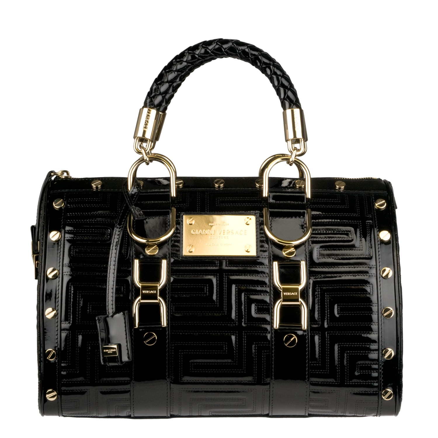 Versace Black Patent Leather Studded Bowler Bag on PopScreen 29d90192fc19a