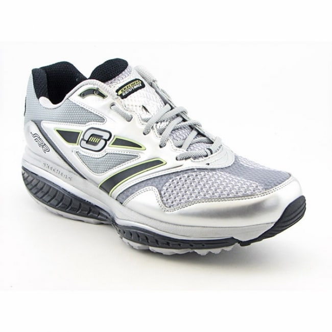 A Runner Shapes Up A Tired Staircase: Skechers Shape-Ups Men's 'Defiance-Dare' Silver/Black