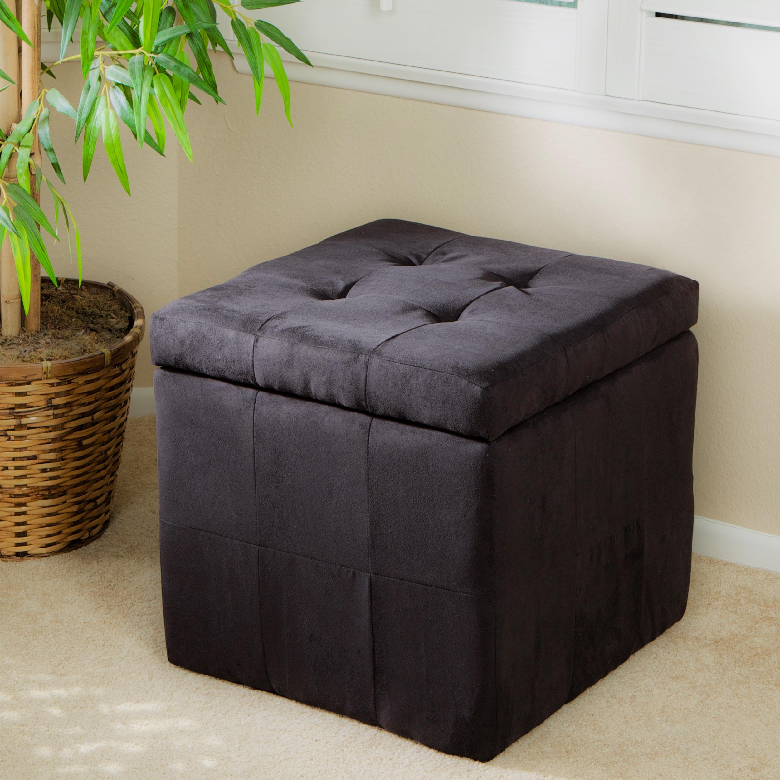 Tufted Black Fabric Storage Cube Ottoman 13915122