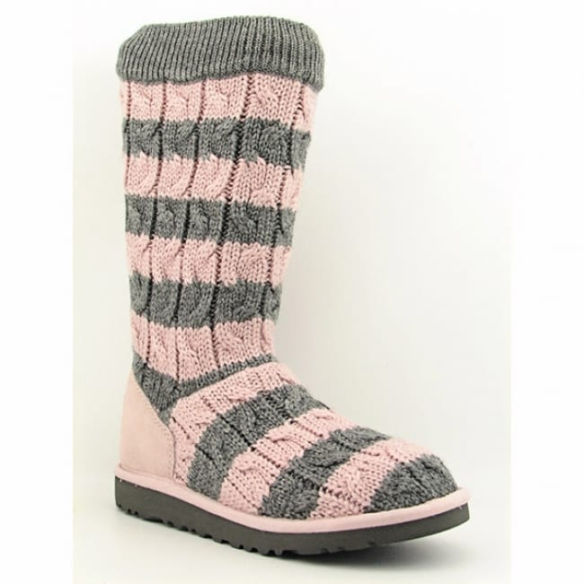 Ugg Australia Girl S Pink Classic Tall Stripe Cable Knit