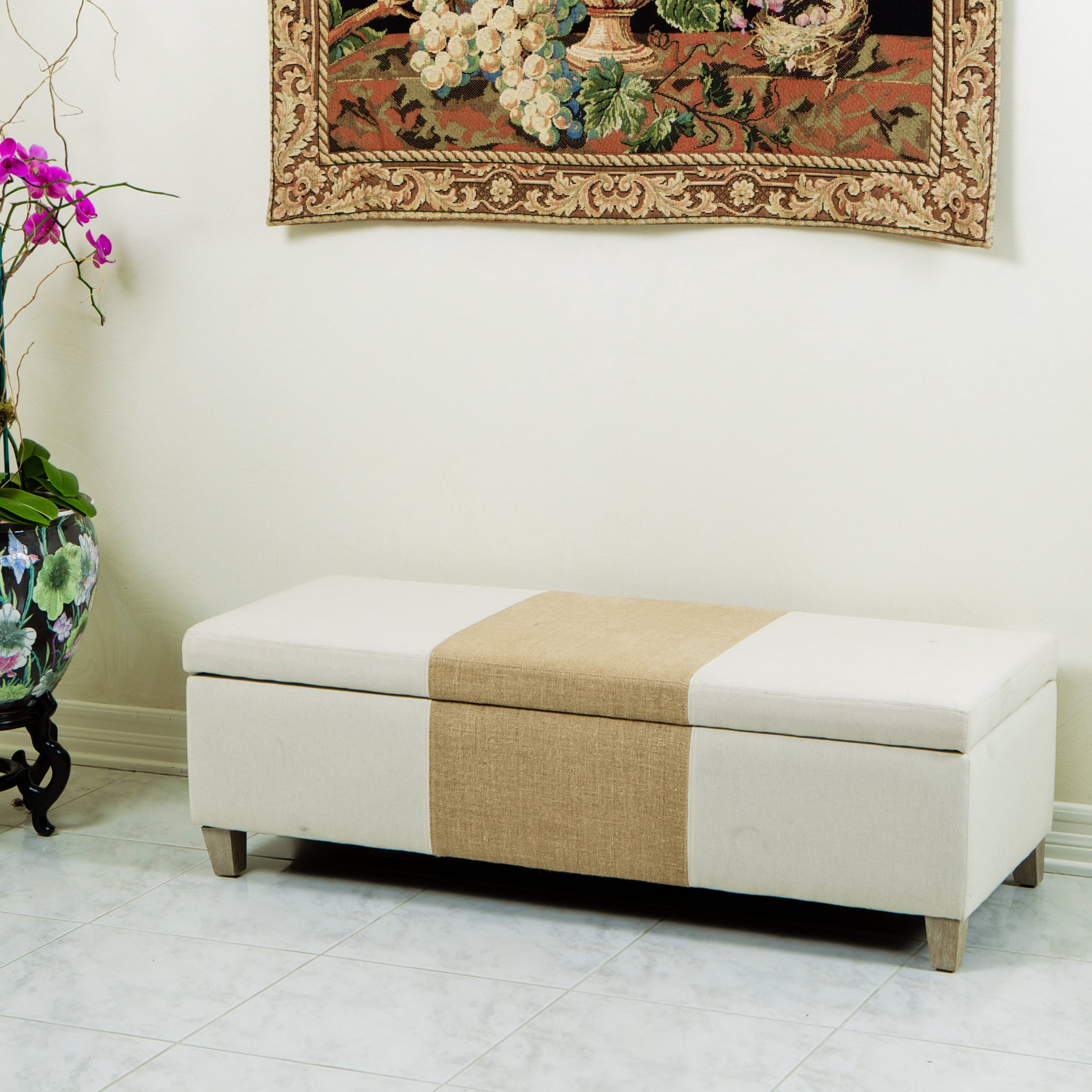 Christopher Knight Home Two Tone Fabric Storage Ottoman