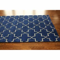Handmade Luna Moroccan Trellis Navy Wool Rug 7 6 X 9 6