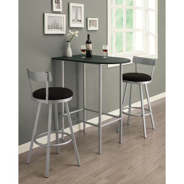 Black Bar Set: Silver/ Black Swivel Stool Bar Set
