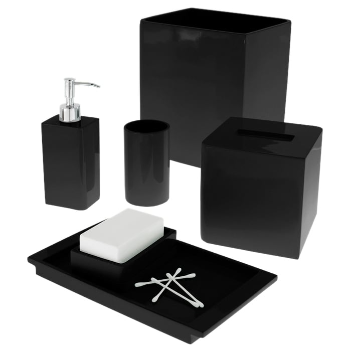 Solid Lacquer Black Bath Accessory Collection Overstock