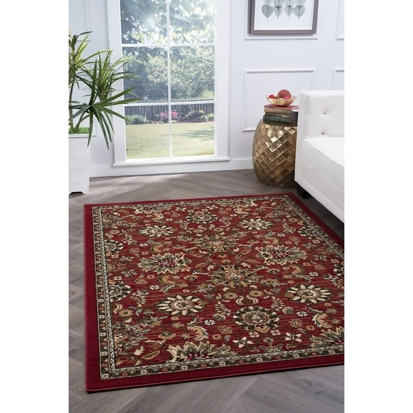 Alise Lagoon Transitional Red Area Rug - 7'6 x 9'10
