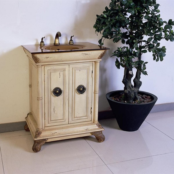 28 Inch Bathroom Vanity With Sink: Tempered Glass Top 28-inch Single Sink Bathroom Vanity