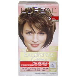 Oreal Excellence Creme Pro-Keratine #6 Light Brown Natural Hair ...