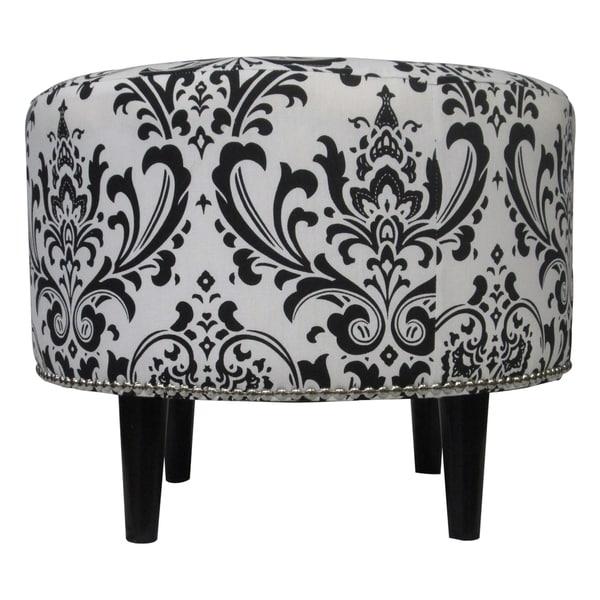 Sole Designs Sophia Traditions Black White Round Ottoman