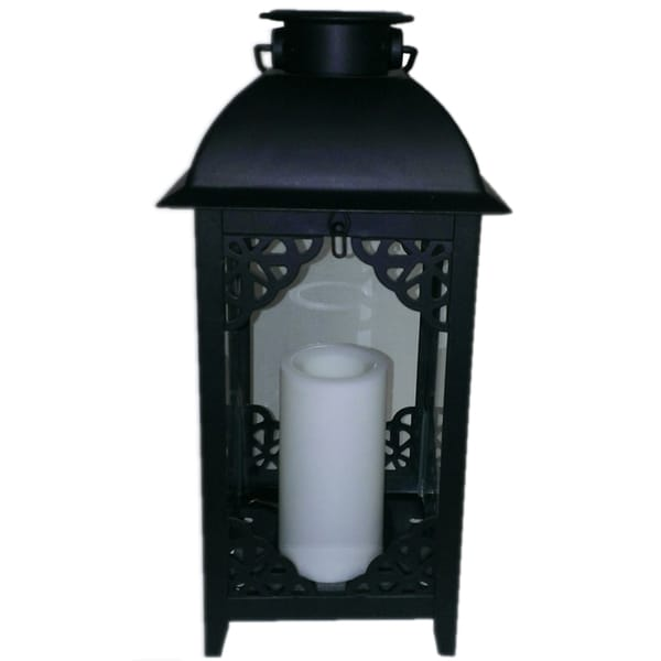 Paradise Solar Powered Black Moroccan Style Metal Lantern