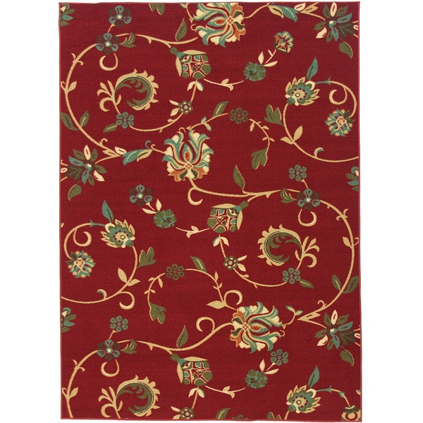 Oriental Swirls Non Skid Rubber Backing Red Area Rug 3 11