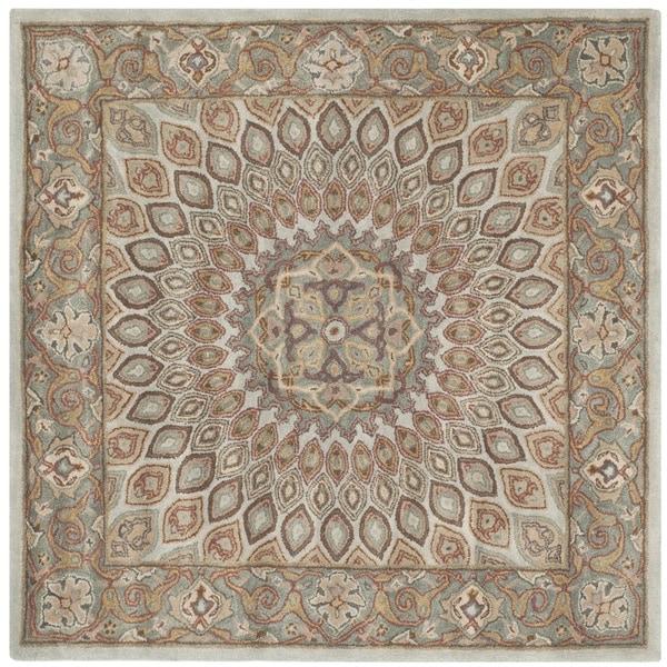 Safavieh Handmade Heritage Medallion Blue Grey Wool Rug