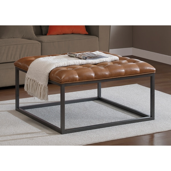 Healy Saddle Brown Leather Tufted Ottoman 15254116