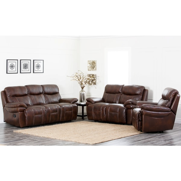 Abbyson Living Aspen 3 Piece Premium Top Grain Leather