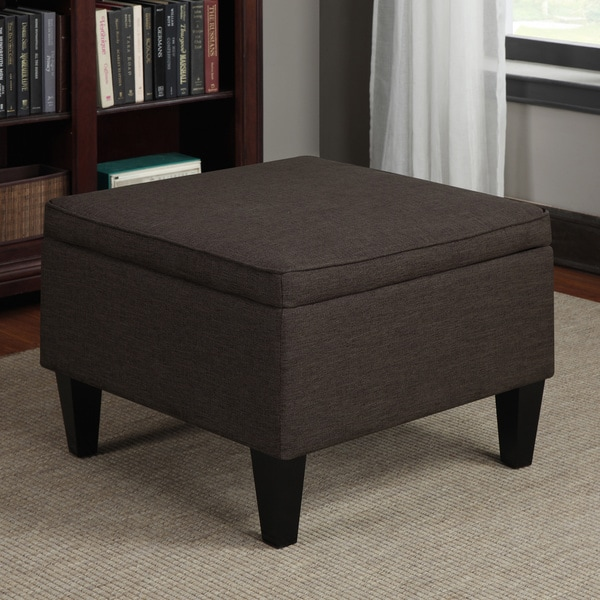 Ottomans Brussels Brown Bonded Leather Storage Chest: Simplify Chocolate Faux Leather Double Folding Storage Ottoman