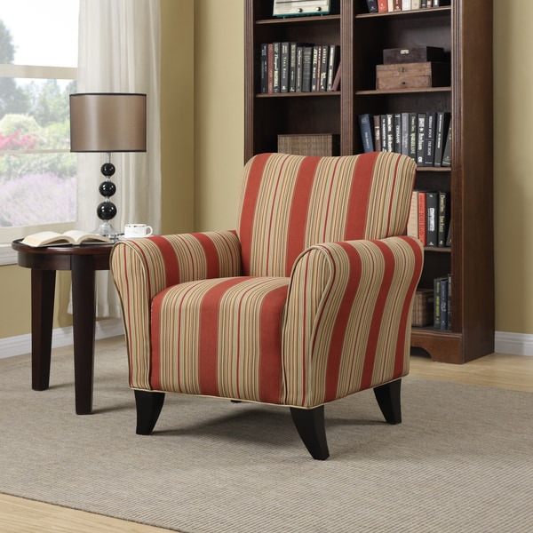 Portfolio Seth Red Stripe Curved Back Arm Chair 15260139