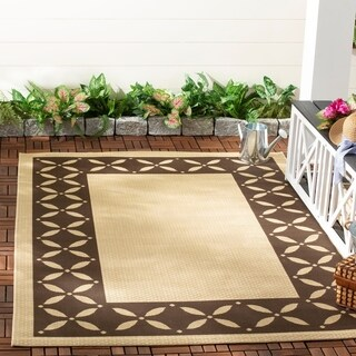 Martha Stewart by Safavieh Mallorca Border Cream/ Chocolate Indoor/ Outdoor Rug - 5'3' x 7'7'