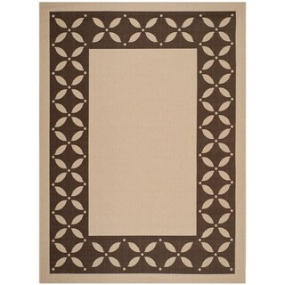 Martha Stewart by Safavieh Mallorca Border Cream/ Chocolate Indoor/ Outdoor Rug - 8' x 11'2