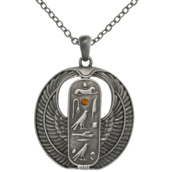 Egyptian Cartouche Necklace: Carolina Glamour Collection Pewter Rhinestone Egyptian