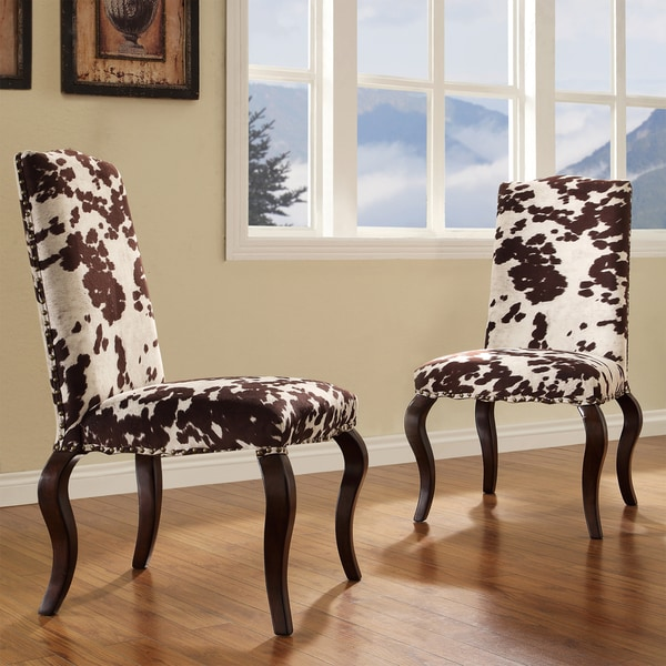 Cowhide Dining Room Chairs: INSPIRE Q Lorell Brown Cow Hide Nailhead Upholstered