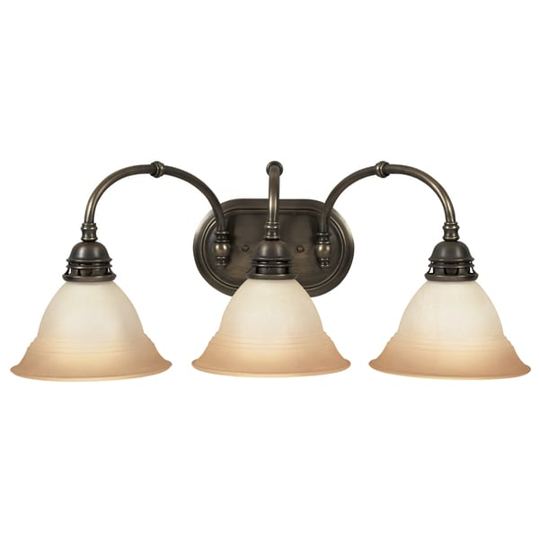 Antique Brass Bathroom Lighting: Antique Brass Transitional 3-light Bath/ Vanity
