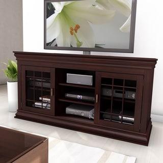 sonax carson dark espresso 60 inch wood veneer tv component bench overstock shopping great. Black Bedroom Furniture Sets. Home Design Ideas