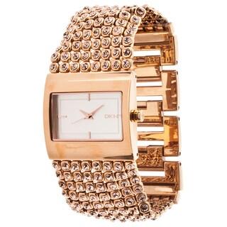 DKNY Women's Rose Goldtone Glitz Watch