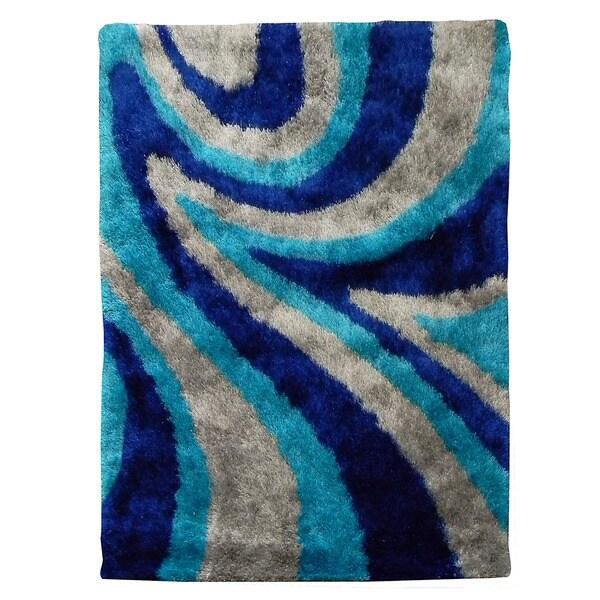 Hand Tufted Flash Shaggy 654 Abstract Wave Blue Shag Rug