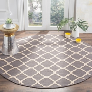 Hand Tufted Lily Pad Floral Round Wool Area Rug 6 X 6