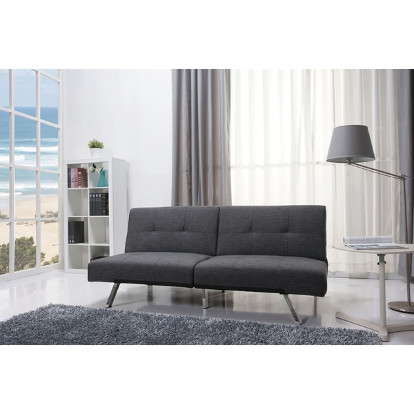 Jacksonville Gray Fabric Futon Sleeper Sofa Bed 15275559