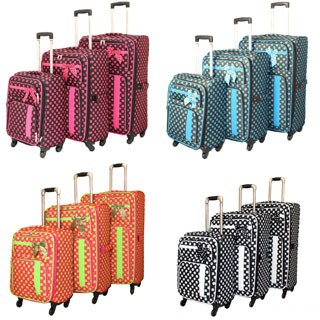 World Traveler Polka Dot Delight 3-piece Expandable Lightweight Spinner Luggage Set
