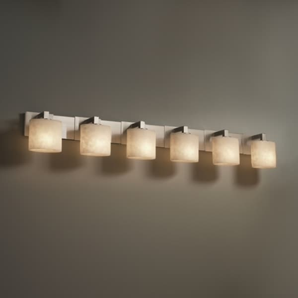Justice design group 6 light oval clouds resin brushed - 8 light bathroom fixture brushed nickel ...