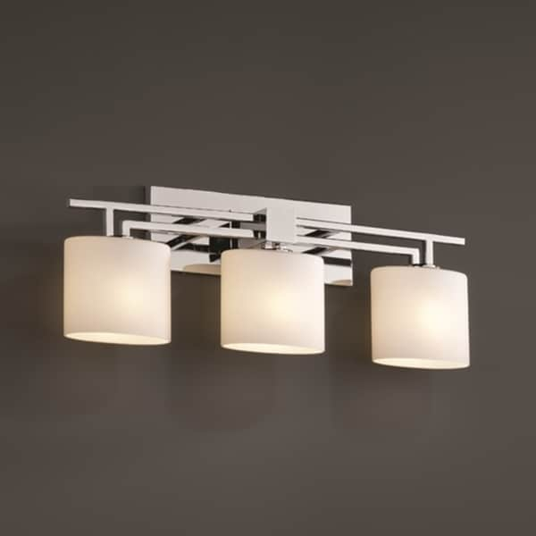 Justice design group 3 light opal oval polished chrome - Chrome bathroom lighting fixtures ...