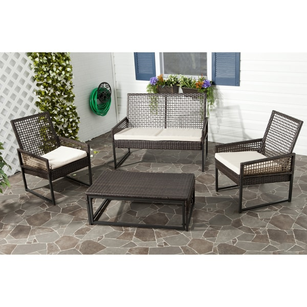 Safavieh Outdoor Living PE Mesh Back Wicker Beige Cushion