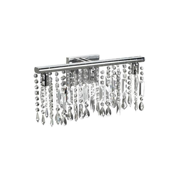 Chrome Crystal 3 Light Wall Sconce Bathroom Vanity Fixture
