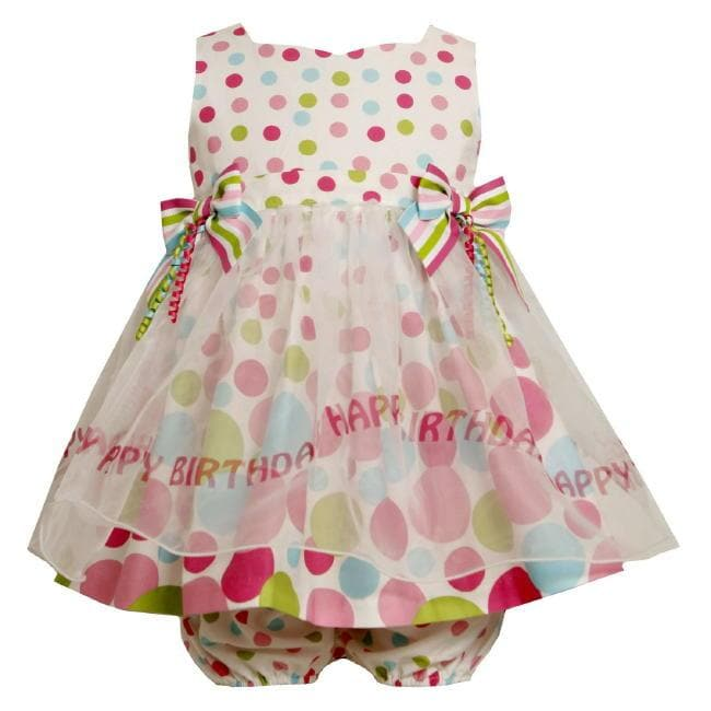 68a64d28e Bonnie Jean Baby Girls Polka Dot Happy Birthday Dress on PopScreen