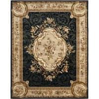 Safavieh Handmade French Aubusson Black Premium Wool Rug - 6' x 9'