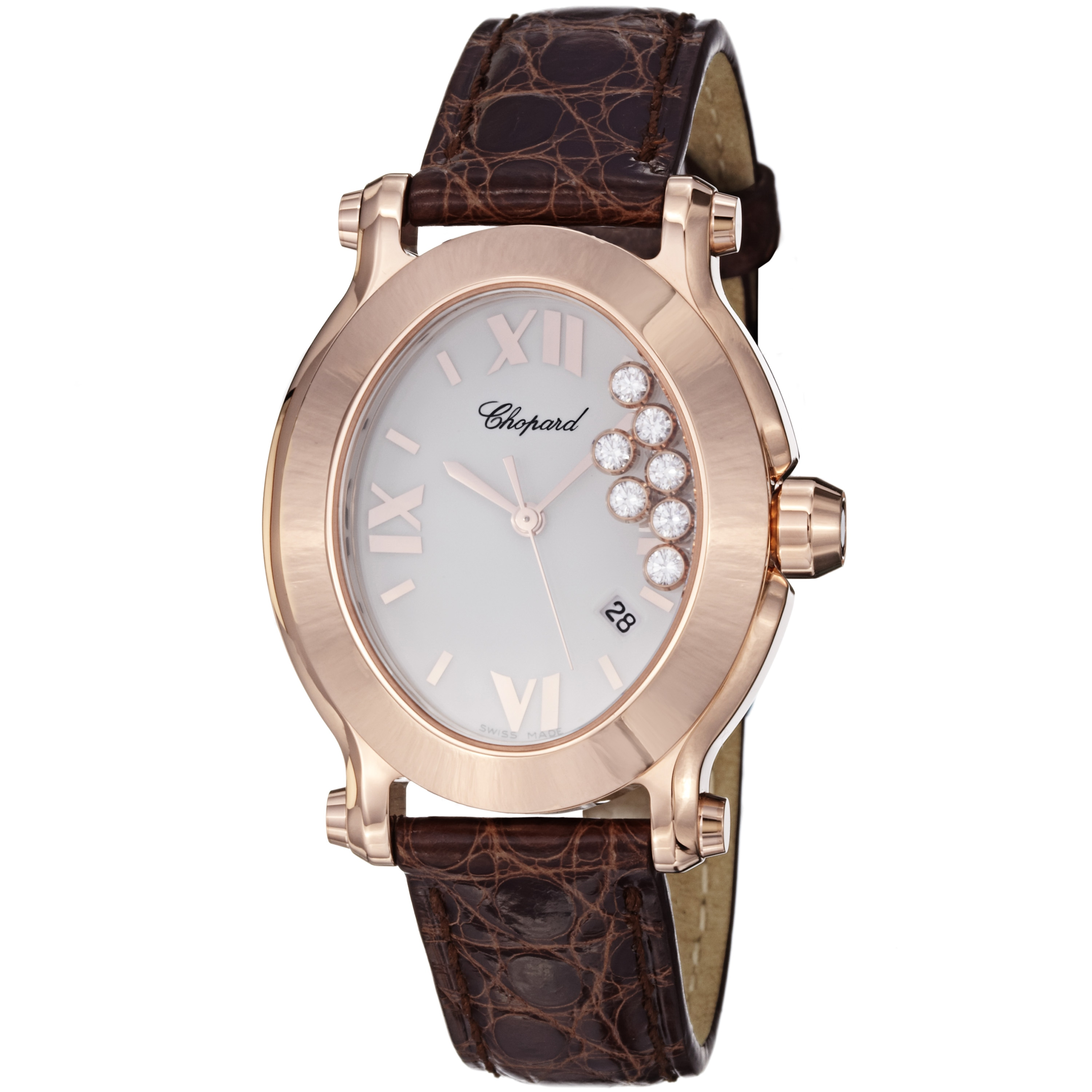 0339db3e521e2 Chopard Womens Happy Sport Oval Rose Gold Leather Watch on PopScreen