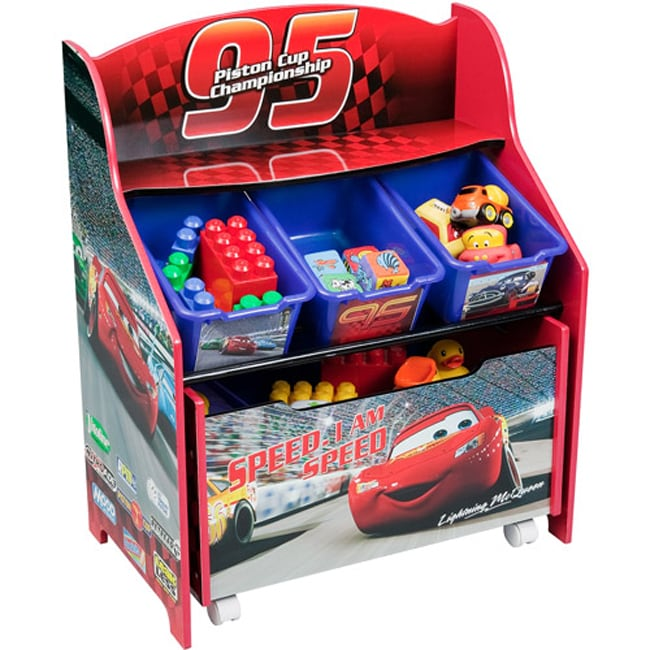 Disney Collapsible Storage Trunk Toy Box Organizer Chest: Disney Cars 3-Tier Storage Organizer With Rollout Toy Box