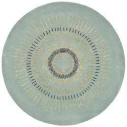 Safavieh Handmade Deco Explosions Light Blue/ Multi Wool Rug - 8' x 8' Round