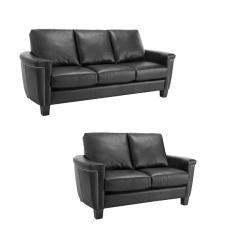 Charlotte Black Italian Leather Sofa Loveseat Set