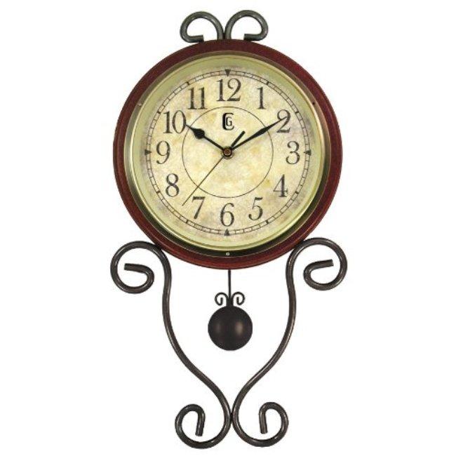 Geneva Brown Wrought Iron Pendulum Wall Clock 14294580