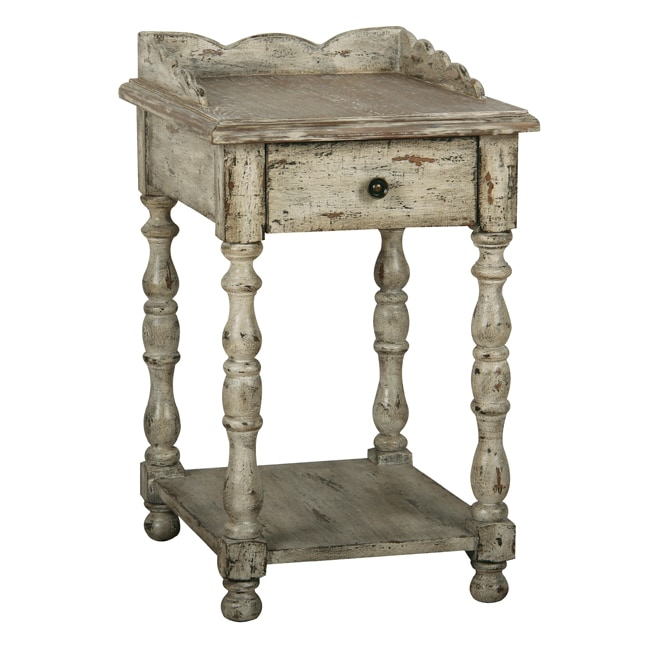 Overstock End Tables: Distressed Vintage Cream Accent Table