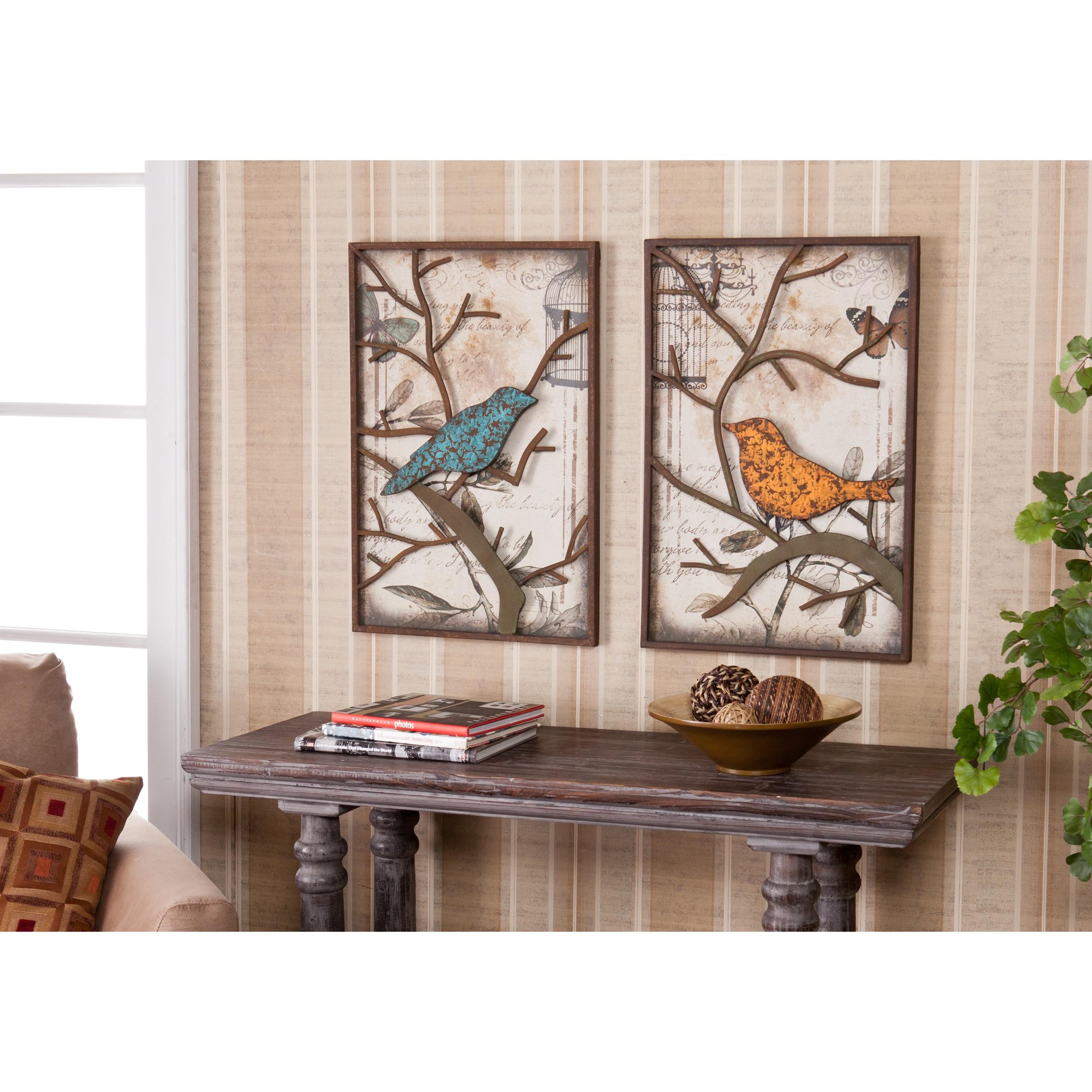 Vintage Love Birds Wall Art Set Couple Gift Wedding House