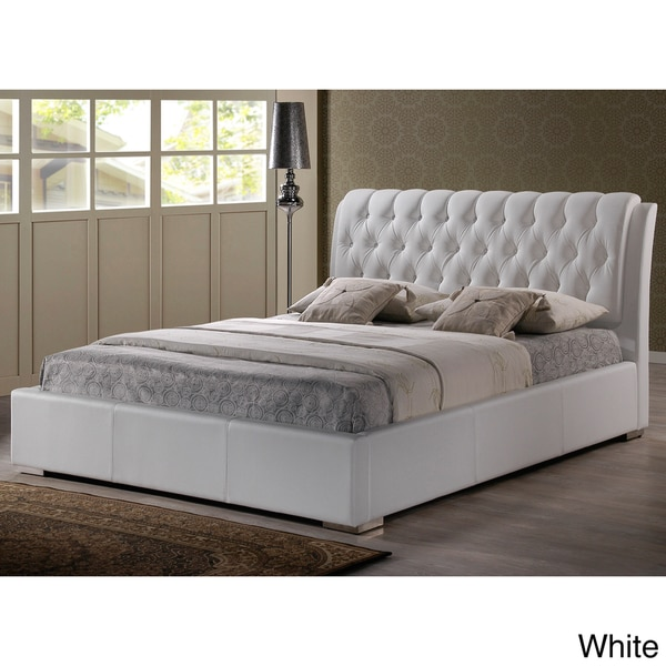 baxton studio bianca white modern full size tufted headboard bed 15281134. Black Bedroom Furniture Sets. Home Design Ideas