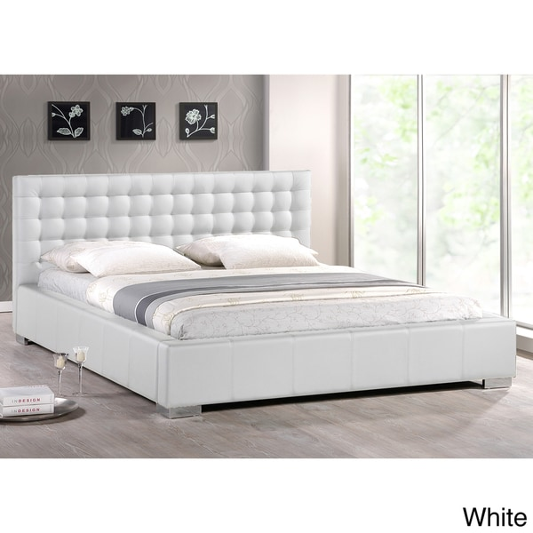 baxton studio madison white modern full size bed with upholstered headboard 15281137. Black Bedroom Furniture Sets. Home Design Ideas