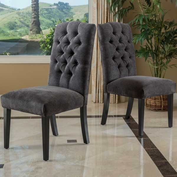 Grey Dining Room Chairs: Christopher Knight Home Crown Top Dark Grey Fabric Dining